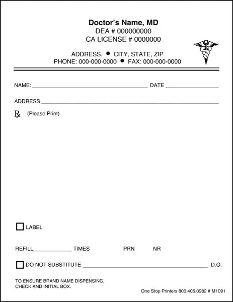 fake prescription pad template - doctor 39 s rx pads slips with docugard m1091 one stop