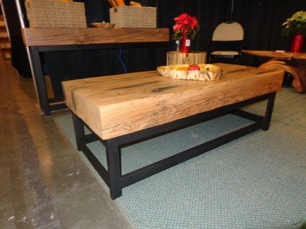 Reclaimed Douglas Fir Beam Coffee Table With Welded Steel Base - Welded coffee table