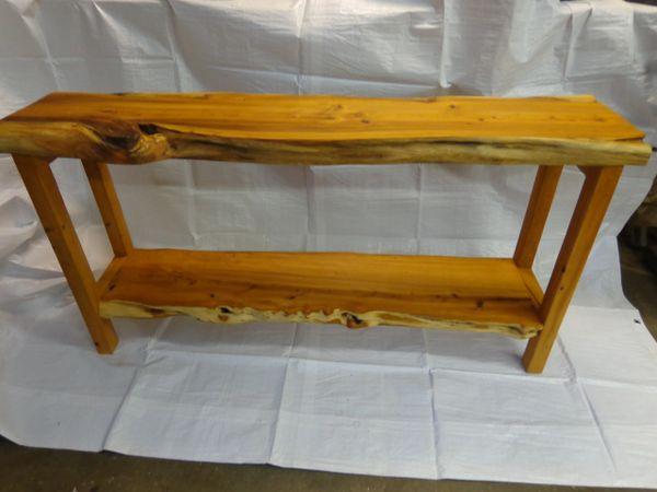 Live Edge Yew Wood Consul Table Natures Edge Wood Design
