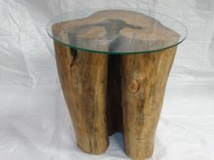 Maple End Table with Glass Top