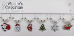 Christmas fun wine glass charm set