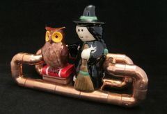 Steampunk copper pipe cruet set stand with Witch and Owl shakers