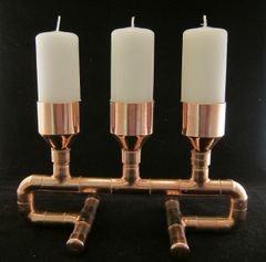 Steampunk copper pipe 'Three Peaks' candle holder (includes three candles)