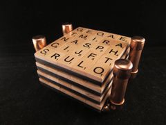 Steampunk copper pipe stand with handmade Word Game coaster set