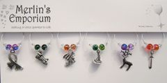 The Magical World (coloured glass) wine glass charm set