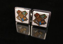 Steampunk Lego® Harry Potter Hogwarts coat of arms cufflinks