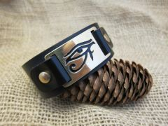 Leather and brass cuff - Eye of Horus