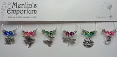 Life on a Lily Pad wine glass charm set