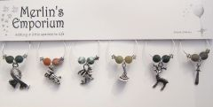 The Magical World (natural agate) wine glass charm set