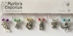 Christmas Baubles wine glass charm set