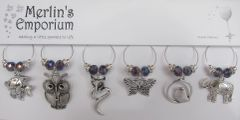 Large animals (purple shimmer) wine glass charm set