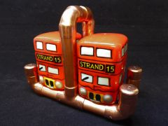 Steampunk copper pipe cruet set stand with two London Bus shakers