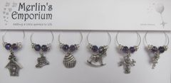 Days gone by (purple shimmer) wine glass charm set