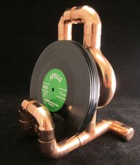 Steampunk copper pipe stand with six miniature vinyl record coasters