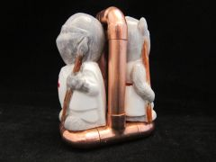 Steampunk copper pipe cruet set stand with Templar Knight shakers
