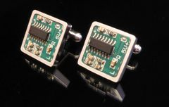 Steampunk PCB with Surface-Mounted Chip Cufflinks