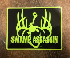 SWAMP ASSASSIN LOGO PATCH STYLE DECAL (LIMEGREEN/BLACK) 3.5X5INCH