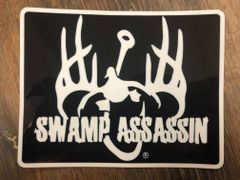 SWAMP ASSASSIN LOGO PATCH STYLE DECAL (BLACK/WHITE) 3.5X5INCH
