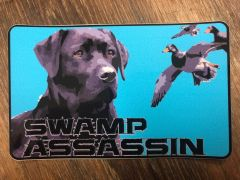 Swamp Assassin Black Lab Teal Background Decal 3 inch x 5 Inch