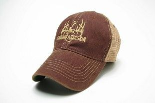 Swamp Assassin Legacy Throwback Mesh Trucker (Dark Maroon & Khaki)
