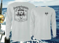New Swamp Assassin Timber Series Dry Fit Performance Fishing Shirts (Silver/Black)