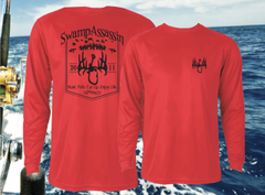New Swamp Assassin Timber Series Dry Fit Performance Fishing Tee (Red/Black)