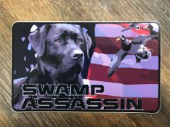 Swamp Assassin Black Lab American Flag Decal 3 inch x 5 Inch