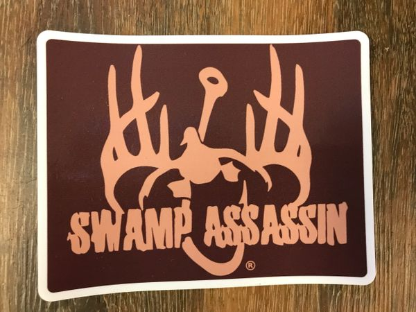 SWAMP ASSASSIN LOGO PATCH STYLE DECAL (BROWN/TAN) 3.5X5INCH