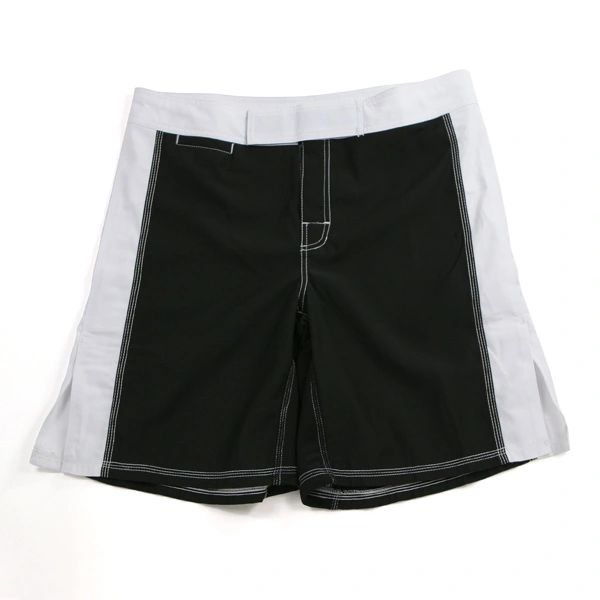 MMA Fight Shorts Black w/White Trim
