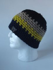Beanie- Black, Beige, Yellow and Navy