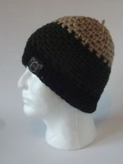 Beanie- Beige, Forest Green and Black