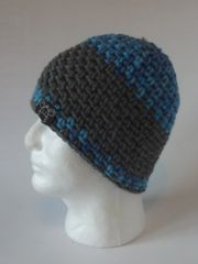Beanie- Bright Blue/Sky Blue blend and Grey