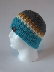 Beanie- Grey, Mustard, Cream and Turquoise