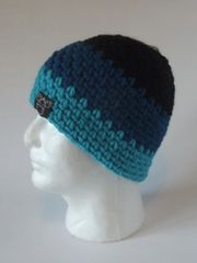 Beanie- Black, Blue and Turquoise