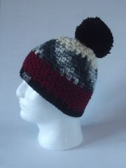 Toque Cream, Black/Grey/Cream, Cherry and Black