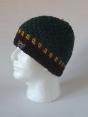 Beanie - Pine Green, Mustard and Brown