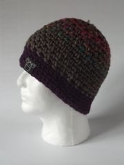 Beanie - Teal/Plum/Pink mix, Rustic and Plum