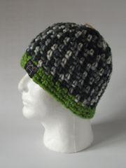 Beanie- Black/Grey/Cream and Bright Green