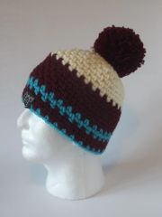 Toque- Cream, Bordeaux and Turquoise