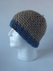 Beanie- Beige and Dusty Blue