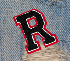Chenille Dark Red Dark Blue Letter R Patch 7cm