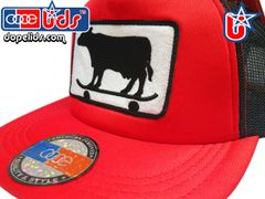 smart-patches Skater Cow Trucker Hat (Red/Black)