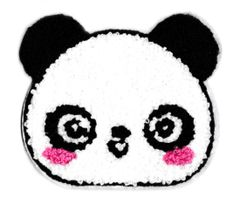 Large Chenille Blushing Panda Bear Head Patch Applique 11cm