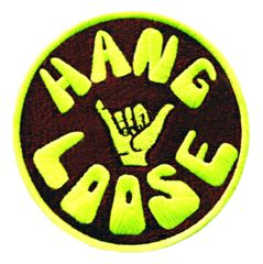 "Vintage Style 70's 80's Hawaii Surf Surfing ""Hang Loose"" Patch 8cm"