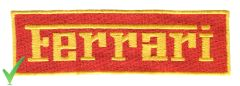 Ferrari Script Patch Red and Yellow 13cm x 4cm
