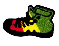 XL Extra Large Chenille Hi Top Rasta Shoe Patch 14cm