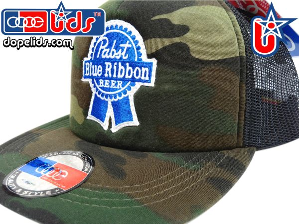smart-patches Pabst Blue Ribbon Vintage Style Trucker Hat (Camo ... b1883c73097