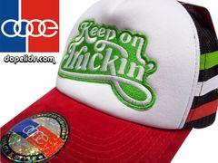 smartpatches Keep on Truckin' Script  Vintage Style 70's Trucker Hat (Italian Stripes)