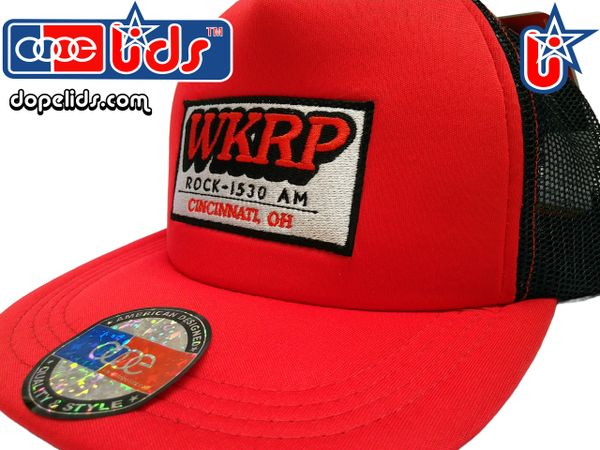 fdf5166c94c Vintage Style WKRP in Cincinnati Trucker Hat (Black Red)