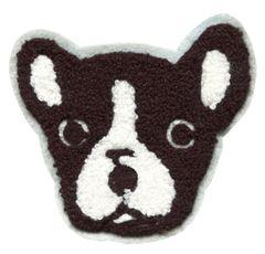 Boston Terrier Chenille Dog Patch (10cm) Applique